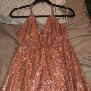 Floor length pink glitter Fashion Nova Dress